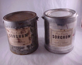 2 Five Pound Sorghum Pails Country Store Advertising Decor