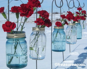 Wedding Ceremony Flowers DIY Mason Jar Hanging Flower Frog Lids for Hanging Flowers or Lanterns, Garden Outdoor Events, Parties, No jars