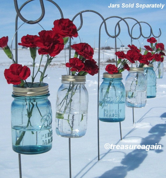 Wedding Ceremony Flowers 6 DIY Mason Jar Hanging Flower Frog Lids For
