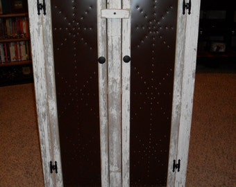 Rustic Two Door Tin Cabinet
