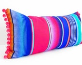Mexican Pillow, Serape Pillow, Tribal Pillow Cover, Decorative Pillow Cover, Aztec, Mexican Cushion Cover, Bright, pom pom pillow, long