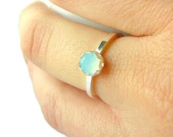 Silver rings for women, Aqua blue gemstone ring, Sterling silver ring, silver stacking ring, solitaire ring chalcedony rose cut