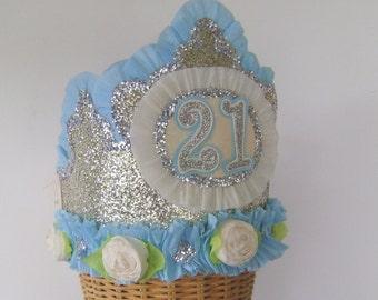 21st Birthday Party Crown, 21st birthday party hat, gold glitter birthday hat, customize