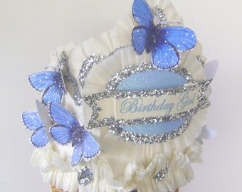 butterfly birthday party hat, butterfly birthday party crown, blue butterfly birthday, customize