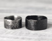 Couple's Ring Set w/ Secret Messages- Bold & Wide Rustic Unisex Hammered Recycled Sterling Silver Band by Pale Fish NY R012