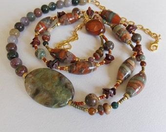 Asymmetrical Layered Green Poppy Jasper Necklace, statement necklace, olive, green, brick, burnt orange, fancy jasper, for her, snake skin