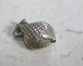 Hill Tribe Silver Decorative Puffed Fish Pendant Bead