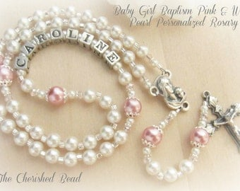 Beautiful Personalized  Baby Girl Pearl & Crystal Baptism Rosary