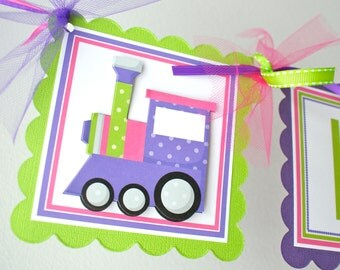 Train Birthday Banner, Girl Train Party Banner, Train Party Decorations, Pink and Purple Train, Choo Choo Banner