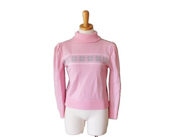 Vintage 70s Retro Ski Sweater - Snowflake Nordic Skiing - Women S - Pink and Gray