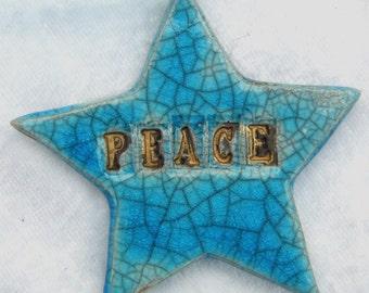 Ceramic Peace Star Christmas Keepsake Decoration in Turquoise Raku