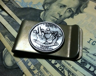 2002 Tennessee Money Clip with State Quarter jewelry By Custom Coin Rings
