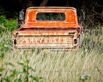 1960's Chevy Truck tailgate with Chevrolet lettering photograph photo vintage classic chevrolet orange rust rustic county decor southwestern