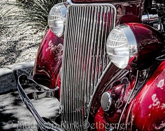 1934 Ford, hot rod, Car show photograph, red antique vintage car, chrome greyhound hood ornament, front grill lights, FastWinn Photography