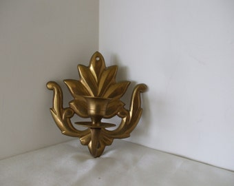 Brass Wall Scone Candle Holder, Leaf Design, Vintage, Home Decor,  Gifts,  #5049