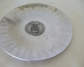 "Air Force Academy Plate, Metal, 7.5"" vintage, Souvenir Plate,  Gifts,  #5384"