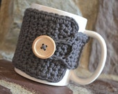 Coffee Cozy in Charcoal Grey, Coffee Mug Cozy, Tea Cozy, Coffee Accessories, Teachers Gifts, Coffee Cup Cozy, Coffee Lover Gift, Coffee Wrap