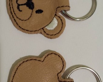 Brown Bear Leather Keychain - FREE Shipping