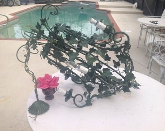 Vintage ITALIAN TOLE Chandelier 29 Inches Tall Shabby Chic Cottage Style ON SALe at Retro Daisy Girl