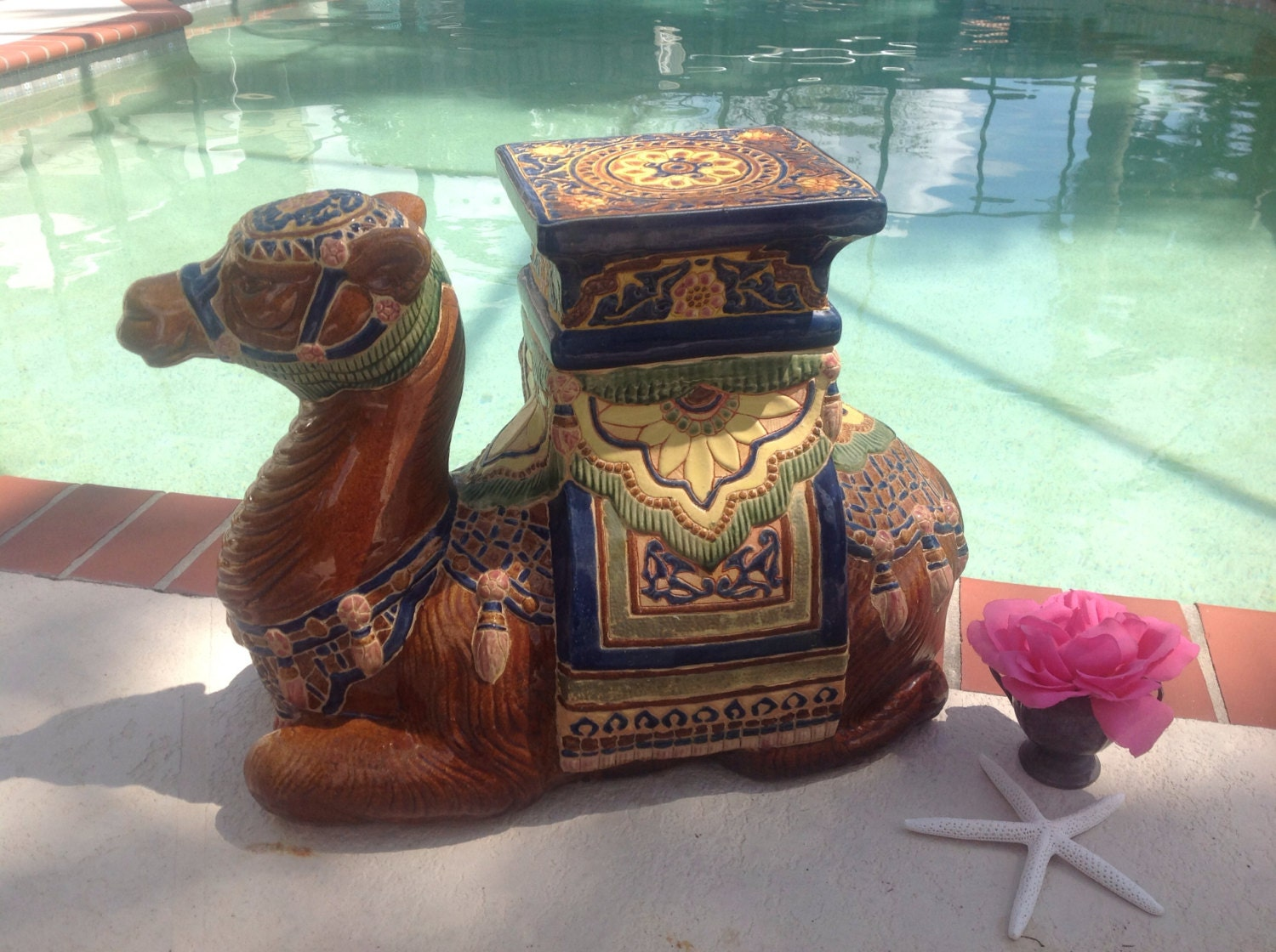 Vintage Camel Garden Seat Italian Ceramic Hollywood