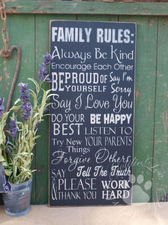 Family Rules, Typography Word Art, Subway Art, Primitive wall sign