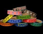 Custom Genuine Leather Hand Painted Name, ID or Phrase Bracelets Handmade for Teens & Adults