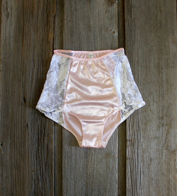 Sample Sale Pink Satin And White Lace High Waist By Ohhhlulu
