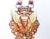 unisex industrial brass vintage copper angel wing pharaoh Egyptian necklace  OOAK