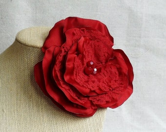 Flower Brooch in Red Satin & Lace