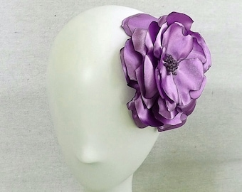 Flower Brooch in Orchid Satin Shantung