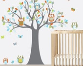 Wall Decals Nursery - Nursery Wall Decal - Tree Decal - Chevron Owl Tree Decal