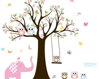 Nursery Wall Decals, Baby Wall Decal, Children Wall Decal, Wall Decals Nursery, Owl Decal, Elephant Decal