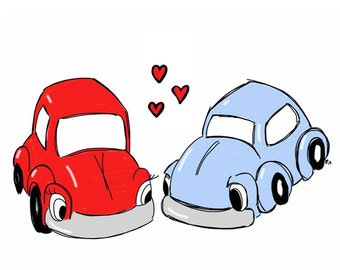 You're My Love Bug, Red and Blue VW Beetle Bug, eco friendly, comes with envelope and seal, valentines day anniversary, masculine