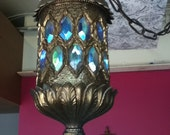 Chahdelier vintage antique hanging pendant light brass crystals irridesant