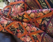 Handcrafted Quilted Twin Bed or Couch Cover Floral Geometric with wine black peach ochre and gold