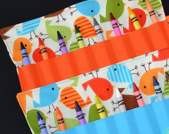 Birds Birthday Party Favor - Crayon Roll, boys party favor, Easter gift, blue and orange, gift for toddler, travel toy, crayon storage