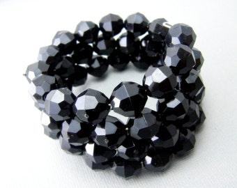 Black Beaded Bracelet, Chunky Bead Bracelet, Black Statement Bracelet, Black Bracelets for Women, Elegant Bracelet