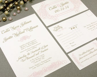 Elegant Romance Vintage Wedding Invitation Set by RunkPock Designs  swirl script calligraphy design shown in blush pink and gold on ivory