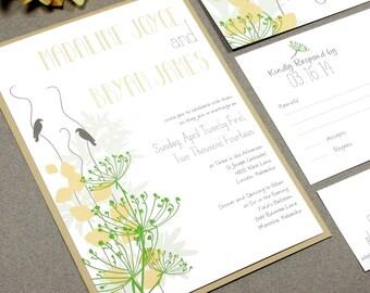 Rustic Wedding Invitation Suite, Love Bird Wedding Invitation Pocketfold, Spring Wedding Invitations green & yellow, Outdoor Wedding Invites