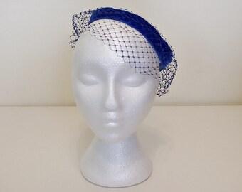 Vintage Ring Hat, 60s Hat, Halo Hat, Blue Velvet Hat, Birdcage Hat, Netting Hat, Netted Hat, Blue Hat, 1960s Hat