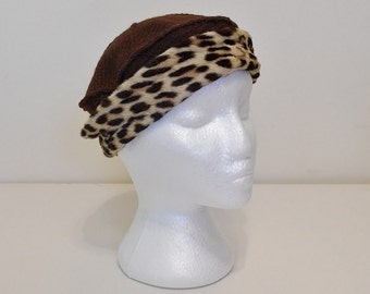 Vintage Leopard Hat, 40s Leopard Hat, 50s Hats, Brown Hat, Cat Animal Print Hat, Knit Hat, Close Fitting Cap