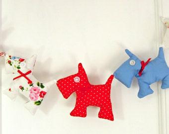 Cute / Red Polka Dots /Blue/ White Floral/ Scottie Dog Garland