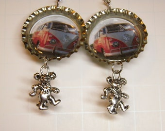 Grateful Dead Earrings with Sterling Silver, Pewter, and VW Microbus Image, Deadhead Hippie Jewelry, Dancing Bears Grateful Dead Jewelry, #5