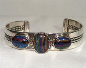Rainbow Calcilica stone in STERLING Bracelet NAVAJO Hanbdmad