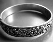 CRAZY SALE Jewelry, Bracelet Vintage Sterling Silver Repousse Bangle, Accessories, Vintage Sterling Silver Bracelet, Boho Chic Bracelet