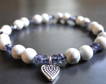 Friendship, Charm Bracelet, Gemstone Bracelet, Accessories, Blue Jean Bracelet, Blue Iolite, Howlite Gemstone Bracelet, Holiday Gift