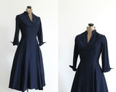 vintage 1940s dress 40s navy blue silk new look full skirt party dress