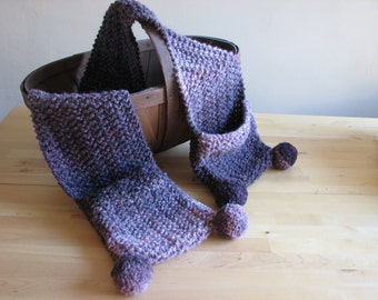 SALE - purple scarf with pockets and pom-poms - 70s inspired