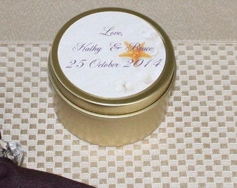 Wedding Favor- Shower Favor- Customized Label-  Scented Soy Candles 6 oz. Travel Tin