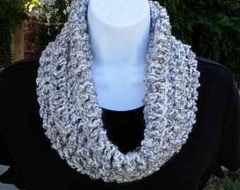 White and Gray Cowl, Soft Summer Scarf, Grey Summer Cowl, Small Knit Cowl, Short Crochet Scarf, Light Silver Gray Grey White, Neck Warmer